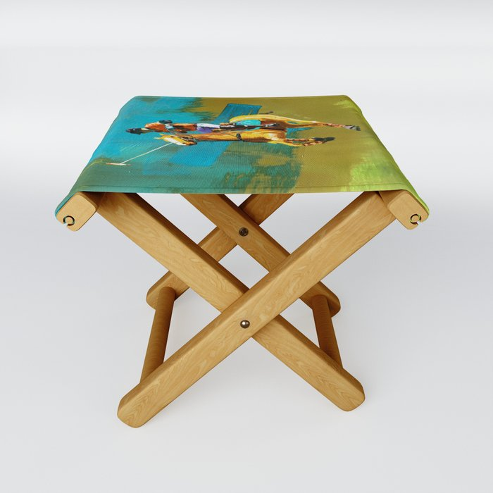 poloplayer abstract turquoise ochre Folding Stool