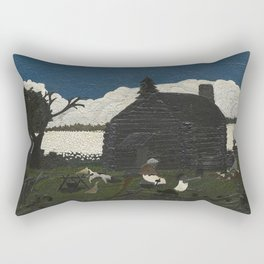 African American Masterpiece 'Cabin in the Cotton No 1' by Horace Pippin Rectangular Pillow