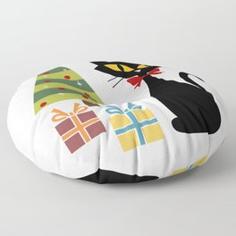 Mid Century Christmas cat Floor Pillow