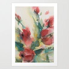 Roses 2 (watercolor) Art Print