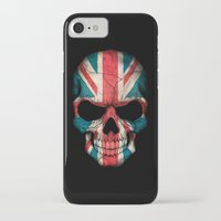 british flag iPhone & iPod Cases featuring British Flag Skull on Black by Jeff Bartels