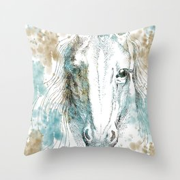 Watercolor Horse Throw Pillow