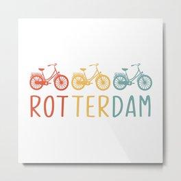 Rotterdam Retro Bicycle Souvenir TShirt Dutch Flag Shirt Netherlands Cycling Gift Idea  Metal Print