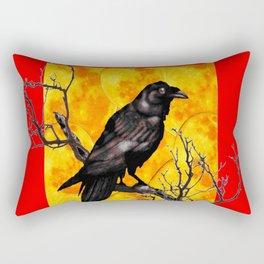Oriental Style Red Crow Tree Art Rectangular Pillow