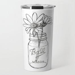 Flowers in a Jar | Mason Ball Jar Sunflowers Daisies Travel Mug