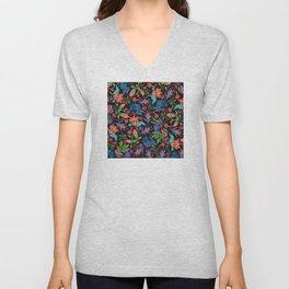Asian-Inspired Colorfully Ornate Floral Pattern Unisex V-Neck