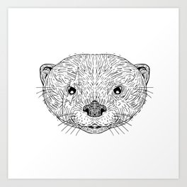 Asian Small Clawed Otter Black and White Mascot Art Print