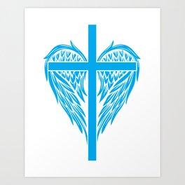 Christian cross and wings Art Print