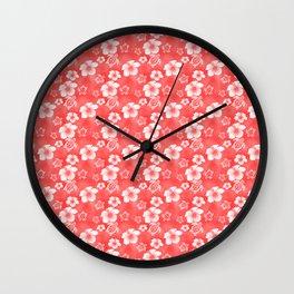 Red Hibiscus Honu Hawaiian Pattern Wall Clock