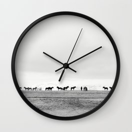 Black and White Horses in Landscape Photograph, Iceland Wall Clock
