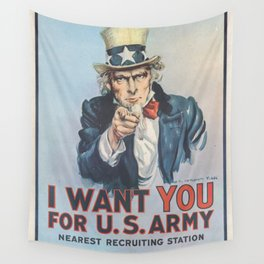 Vintage American First World War Poster - I Want You for the US Army (1917) Wall Tapestry