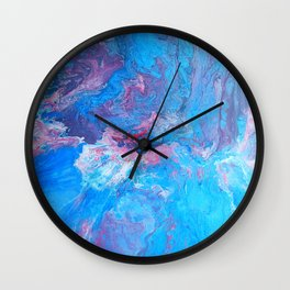 Acrylic pour abstract Blues and Muave Wall Clock