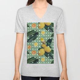Bird & lemons green pattern Unisex V-Neck