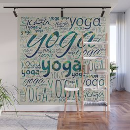 Yoga Pattern Teal Marble with gold  on canvas Wall Mural