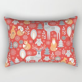 Scandinavian Christmas pattern on a red background. Deer, owls, foxes, trees and grass, snowflakes. Rectangular Pillow