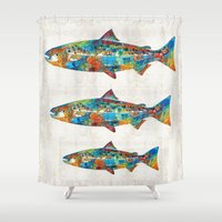 spawn Shower Curtains featuring Fish Art Print - Colorful Salmon - By Sharon Cummings by Sharon Cummings