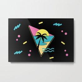 Memphis pattern 42 - 80s / 90s Retro / palm tree / summer Metal Print