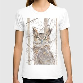 "Watercolor Painting of Picture ""Owl in the Forest"" T-shirt"