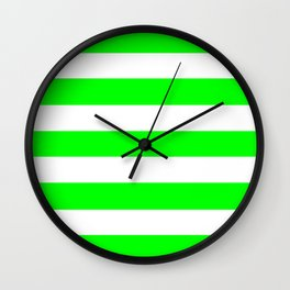 Electric green - solid color - white stripes pattern Wall Clock