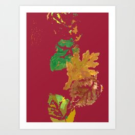 Fall Leaves with Red Background Art Print