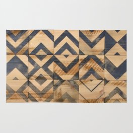 Chevron Scatter Black and Wood Rug