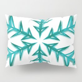 Minimalistic Aquamarine Snowflake Pillow Sham