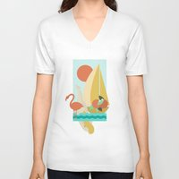 florida V-neck T-shirts featuring Florida by Tank Top Sunday