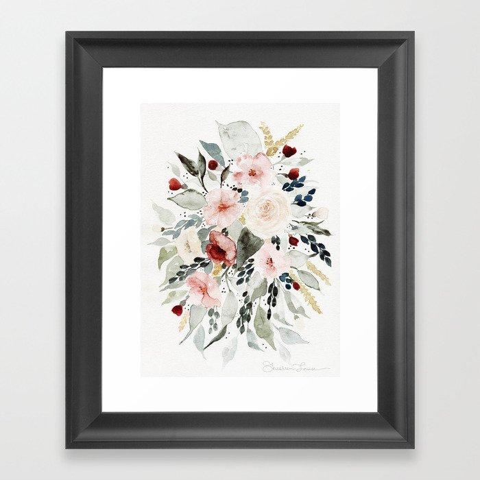 Loose Watercolor Bouquet Gerahmter Kunstdruck