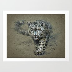 Snow leopard background Art Print