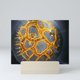 Bold Geometric Septarian Nodule Slice In Blue and Golden Yellow Mini Art Print