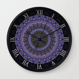 Floral mandala in violet and purple tones Wall Clock
