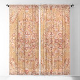 Orange Boho Oriental Vintage Traditional Moroccan Carpet style Design Sheer Curtain
