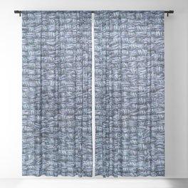 Blue Burlap Textile Sheer Curtain