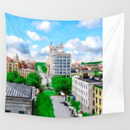 Historic Savannah - Vintage View Over Johnson Square Wall Tapestry