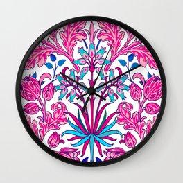 William Morris Hyacinth Print, Fuchsia Pink Wall Clock