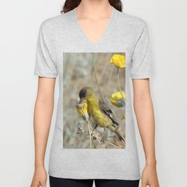 Mr. Lesser Goldfinch Feeds on Seeds Unisex V-Neck