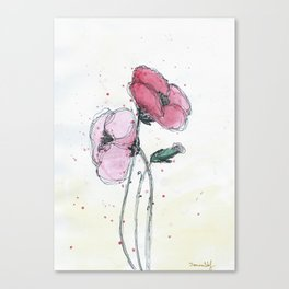 Poppies painting watercolor and black ink illustration Canvas Print