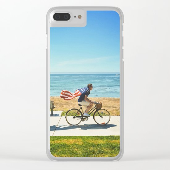 America flag bicycle Clear iPhone Case
