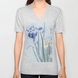 Bee And Blue Iris Flowers - Vintage Japanese Woodblock Print Art By Ohara koson Unisex V-Neck