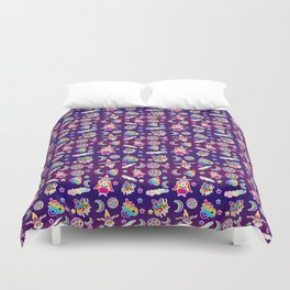 1997 Neon Rainbow Occult Sticker Collection Duvet Cover