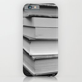 Stack of Books (in black and white) iPhone Case
