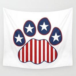 Patriotic Paw Print US Flag Wall Tapestry