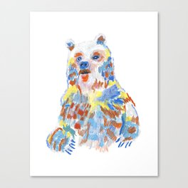 A rainbow bear shows up Canvas Print