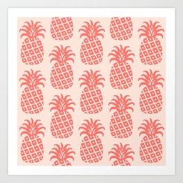 Retro Mid Century Modern Pineapple Pattern Coral Art Print