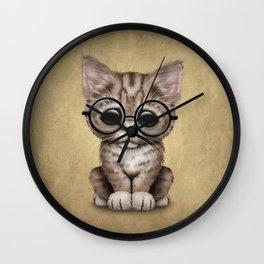 Cute Brown Tabby Kitten Wearing Eye Glasses Wall Clock
