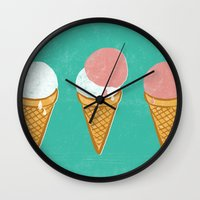 icecream Wall Clocks featuring Icecream by atomic_ocean