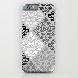 Scroll Damask Ptn Art BW & Grays iPhone Case