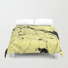 Amsterdam Yellow on Black Street Map Duvet Cover