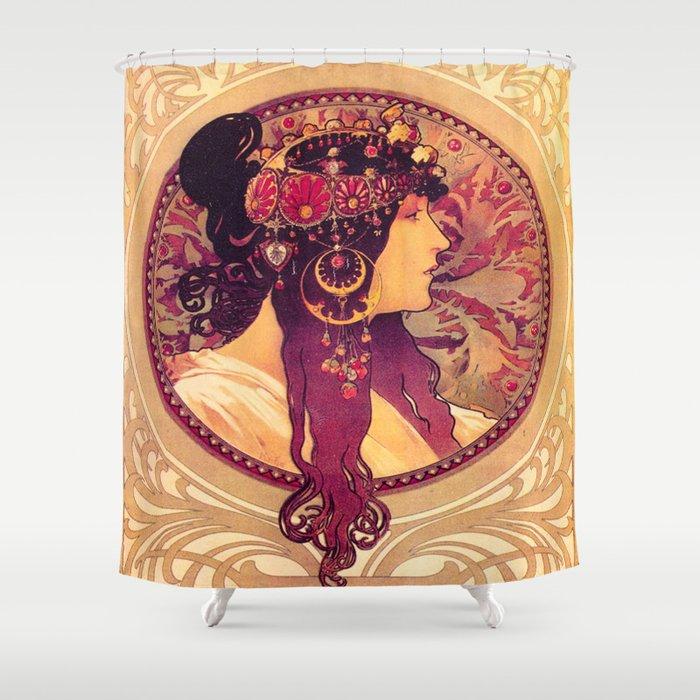 Alphonse Mucha Art Nouveau Shower Curtain