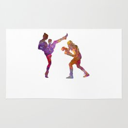 Woman boxwe boxing man kickboxing silhouette isolated 01 Rug